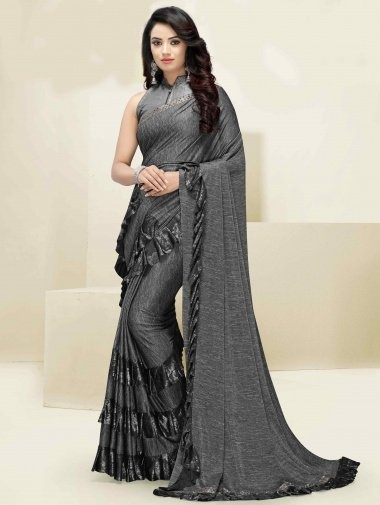 Grey Lycra Tiered Ruffle Fancy Saree with Designer Blouse