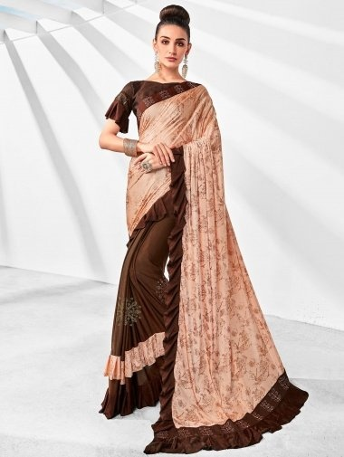 Peach and Chocolate Brown Lycra Fancy Ruffle Saree with Stone Work