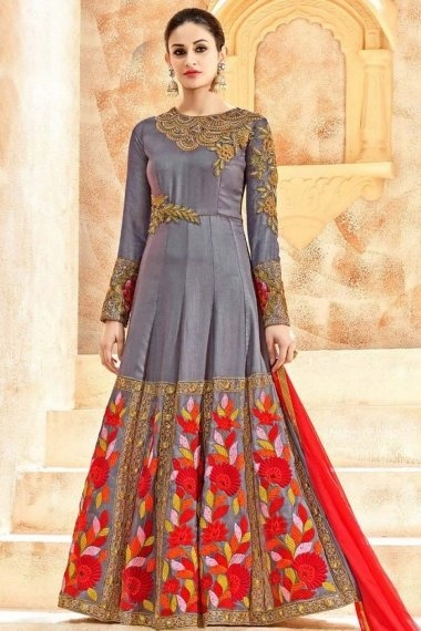 Grey Art Silk Suit with Embroidery
