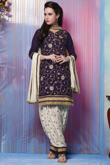Purple Cotton Suit with Embroidery