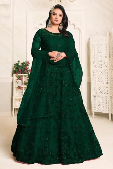 Green Net Embroidered Anarkali Suit with Sequins Work