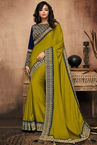 Olive Green Silk Plain Saree with Embroidered Border