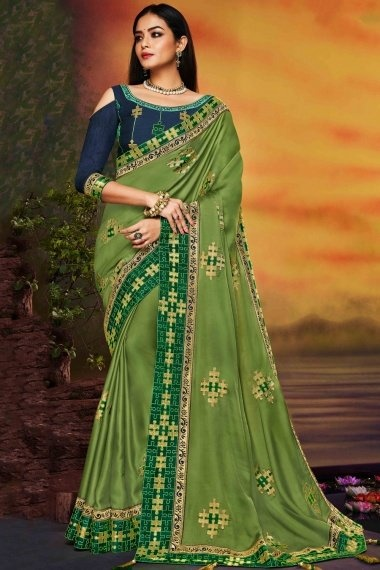 Olive Green Satin Silk Saree with Havy Embroidery