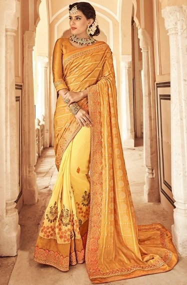 Mustard and Yellow Georgette Embroidered Saree with Checks Woven Pallu