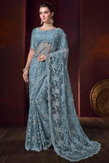 Powder Blue Net All Over Floral Embroidered Saree