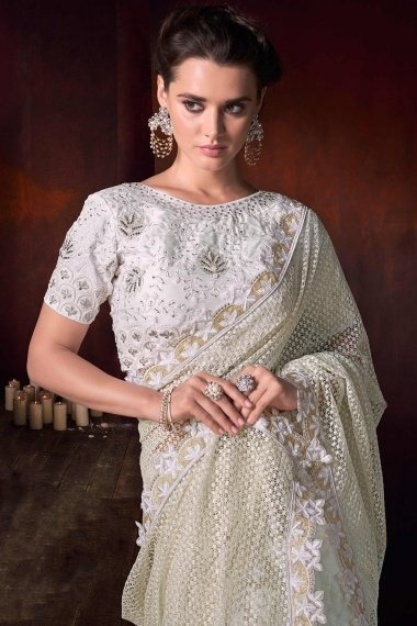 Pearl White Net Designer Saree with Lace