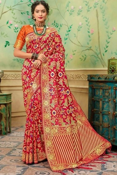 Red Silk All Over Floral Woven Saree with Striped Pallu