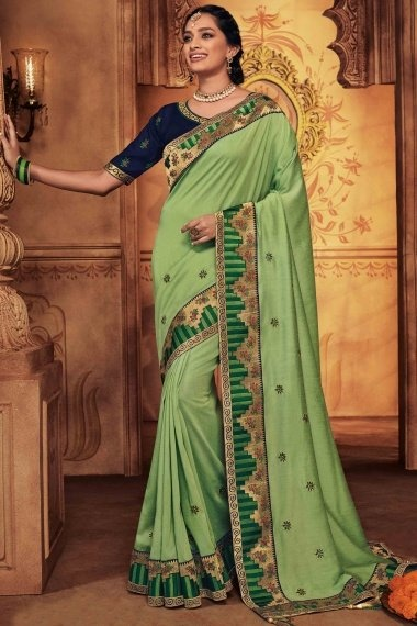 Light Green Silk Traditional Embroidered Saree