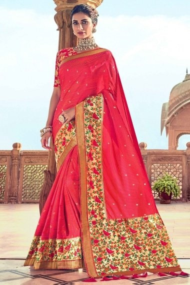 Pink Silk Traditional Saree with Multi Colored Floral Woven Border