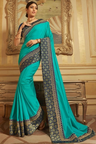 Turquise Green Jacquard Raw Silk Traditional Plain Saree with Embroidered Border