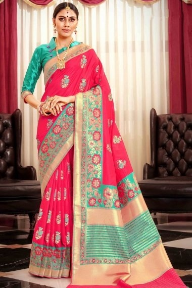 Pink Art Silk Multi Colored Floral Woven Traditional Saree