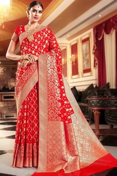 Red Art Silk All Over Floral Woven Saree