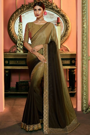 Olive Green Ombre Art Silk Plain Saree with Paisley Woven Lace