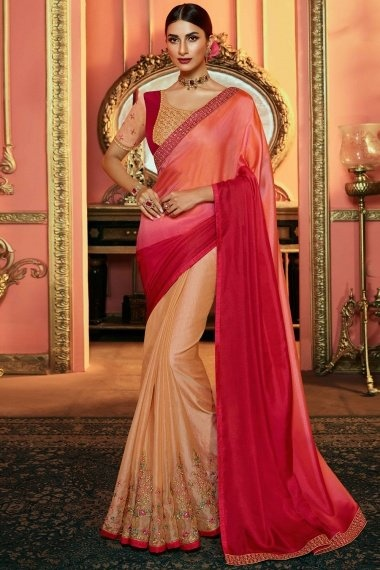 Pink Ombre and Cream Satin Silk Half and Half Saree with Multi Colored Embroidery