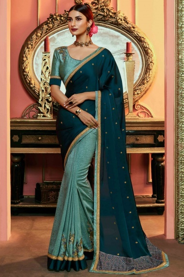 Peacock Blue and Mint Green Satin Silk Half and Half Saree with Floral Embroidery