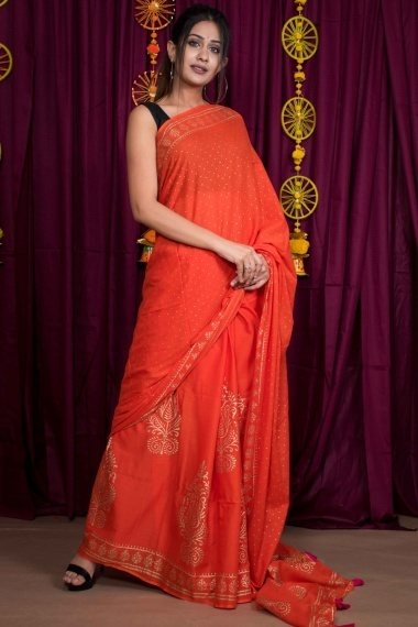 Tangy Orange Cotton Printed Saree with Tassels