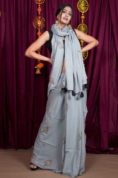 Grey Cotton Printed Saree with Tassels