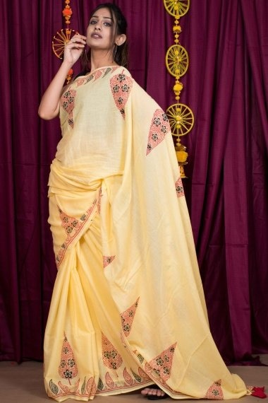 Yellow Cotton Printed Saree with Tassels