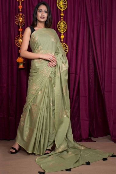 Olive Green Cotton Printed Saree with Tassels