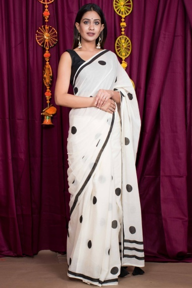 Off White Cotton Polka Dots Print Saree with Tassels