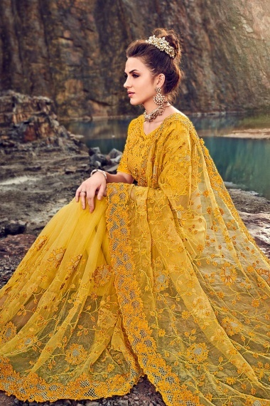 Yellow Net Designer Embroidered Saree with Laser Cut Border