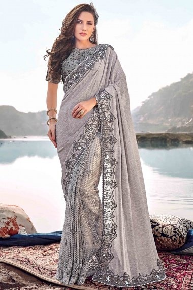Silver Lycra Net Designer Saree with Mirror and Beads Worked Border