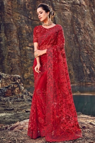 Red Net Embroidered Saree with Cutwork Border