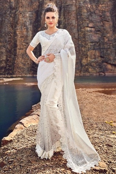 Pearl White Net Designer Saree with Embroidered Cutwork Border