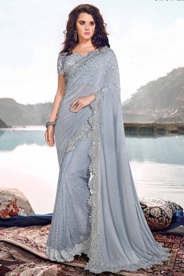 Powder Blue Net Stone Worked Saree with Embroidered Cutwork Border