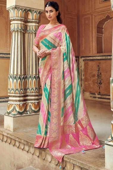 Multi Colored Pure Georgette Woven Saree with Pink Pallu and Floral Border