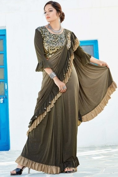 Olive Green Ombre Lycra Zari Worked Ruffle Saree with Designer Blouse
