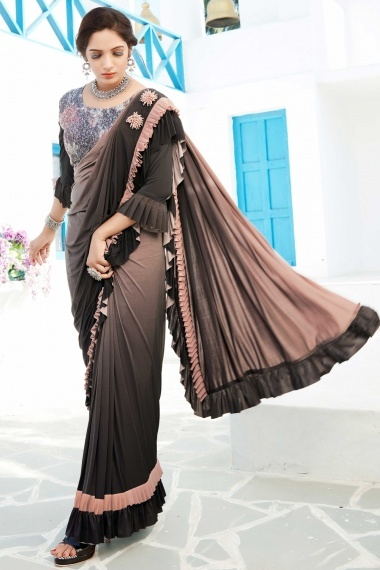 Peach and Black Shaded Lycra Tiered Ruffle Saree with Designer Blouse