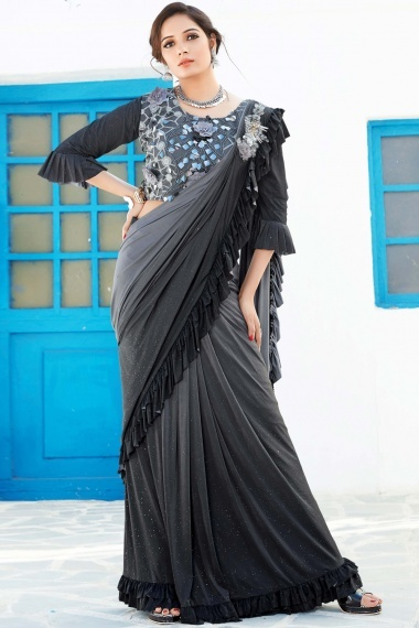 Grey and Black Shaded Lycra Zari Worked Ruffle Saree with 3D Flowers and Designer Blouse