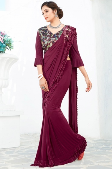 Wine Purple Ombre Lycra Tiered Ruffle Saree with Multi Colored Sequins Worked Designer Blouse
