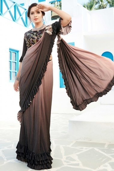 Dusty Peach and Black Shaded Lycra Zari Worked Ruffle Saree with Designer Blouse