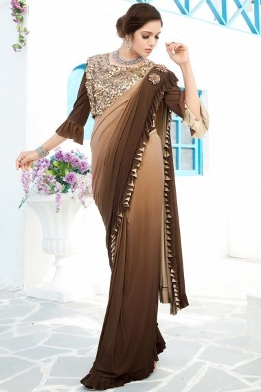 Brown Ombre Lycra Ruffle Saree with Heavy Worked Blouse