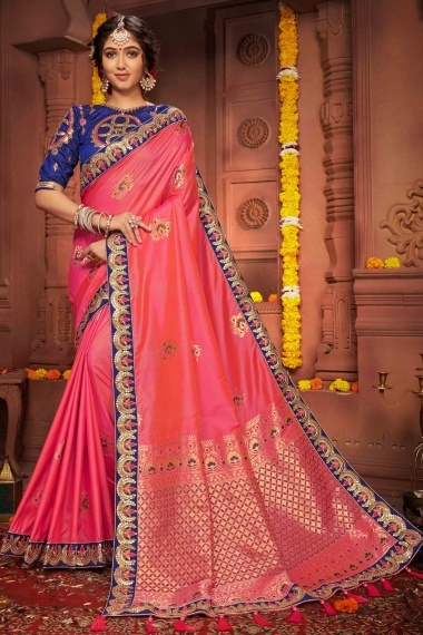 Coral Pink Silk Woven Butta and Pallu Saree with Contrast Embroidered Border