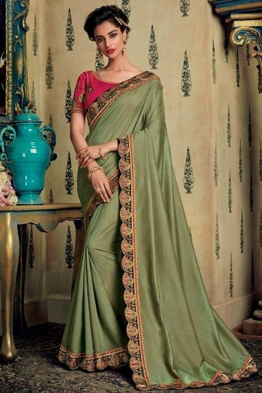 Olive Green Silk Plain Saree with Contrast Embroidered Border