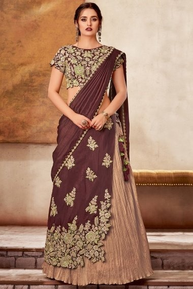 Beige and Maroon Silk Designer Layered Lehenga Saree with Floral Embroidery
