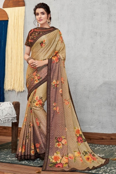 Beige and Brown Georgette Silk Sequins Worked Saree with Floral Motifs