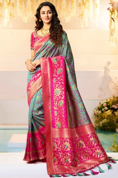 Mint Green Silk Traditional Woven Saree with Pink Border and Pallu