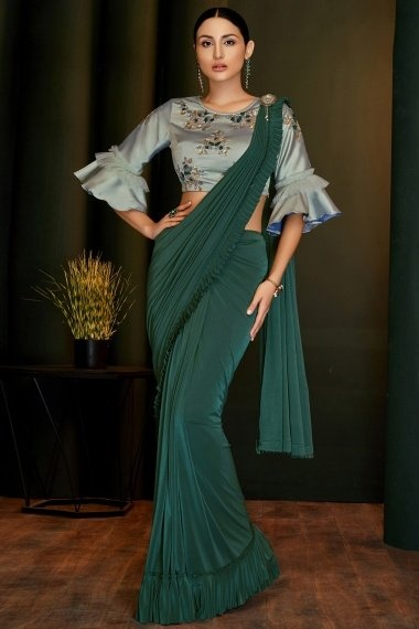 Bottle Green Lycra Pre Stitched Ruffle Fancy Saree with Designer Blouse
