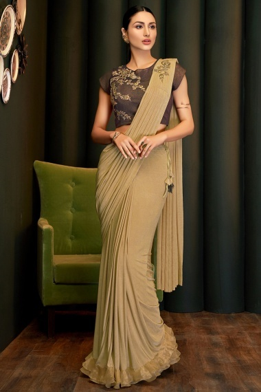 Beige Lycra Pre Stitched Fancy Saree with Embroidered Butta