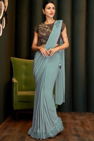 Powder Blue Pre Stitched Fancy Saree with Embroidered Butta