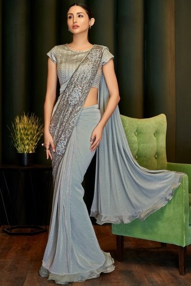 Grey Lycra Pre Stitched Fancy Saree with Sequins Work