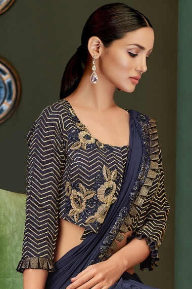 Navy Blue Lycra Net Pre Stitched Fancy Saree with Embroidery