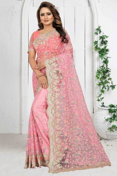 Pink Net Designer Saree with Embroidery Work