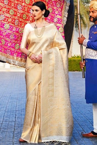 Beige and Golden Silk Traditional All Over Woven Saree