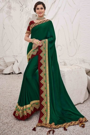 Bottle Green Silk Plain Saree with Contrast Embroidered Border