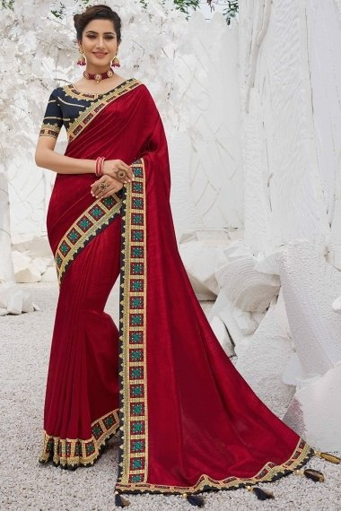 Maroon Silk Plain Saree with Embroidered Contrast Border